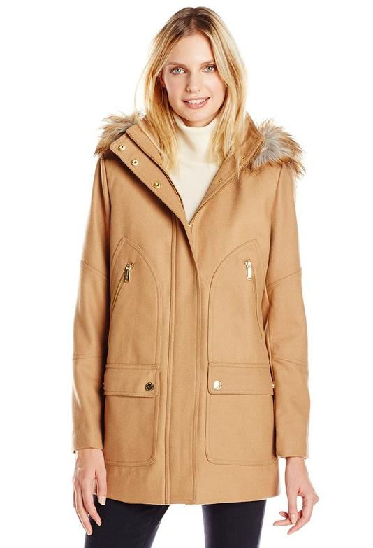 London Fog Women's Wool-Blend Parka with Faux-Fur Hood @ Amazon