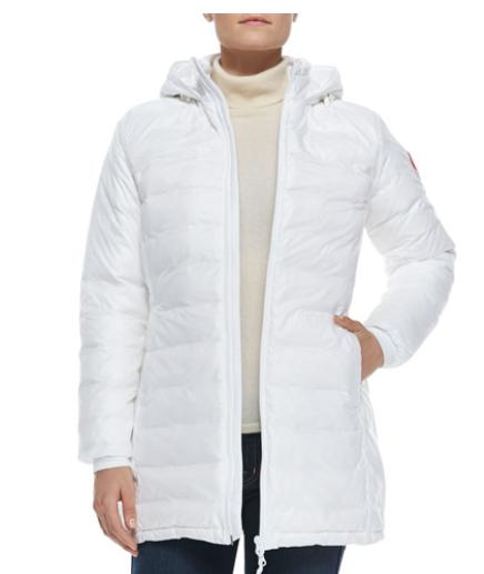 Canada Goose  Camp Hooded Mid-Length Puffer Coat, White @ Bergdorf Goodman