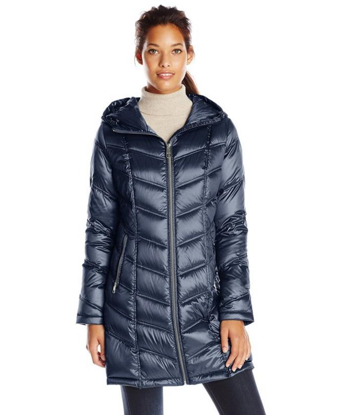 $73.04 Calvin Klein Women's Mid-Length Packable Chevron Down Coat