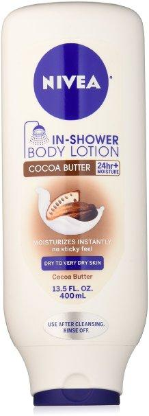 NIVEA In-Shower Cocoa Butter Body Lotion, 13.5 Ounce