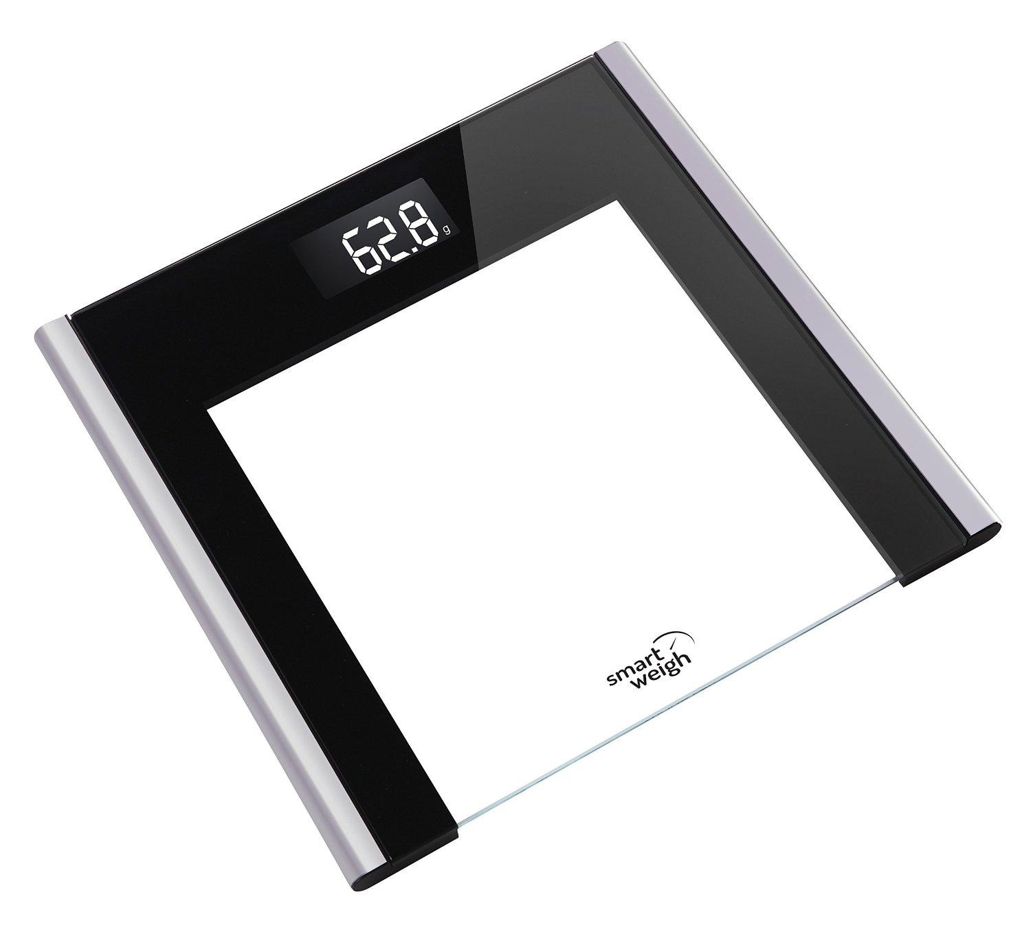 $14.9 Smart Weigh Precision Ultra Slim Digital Bathroom Scale with Instant Step-on technology, Tempered Glass with Black Accents