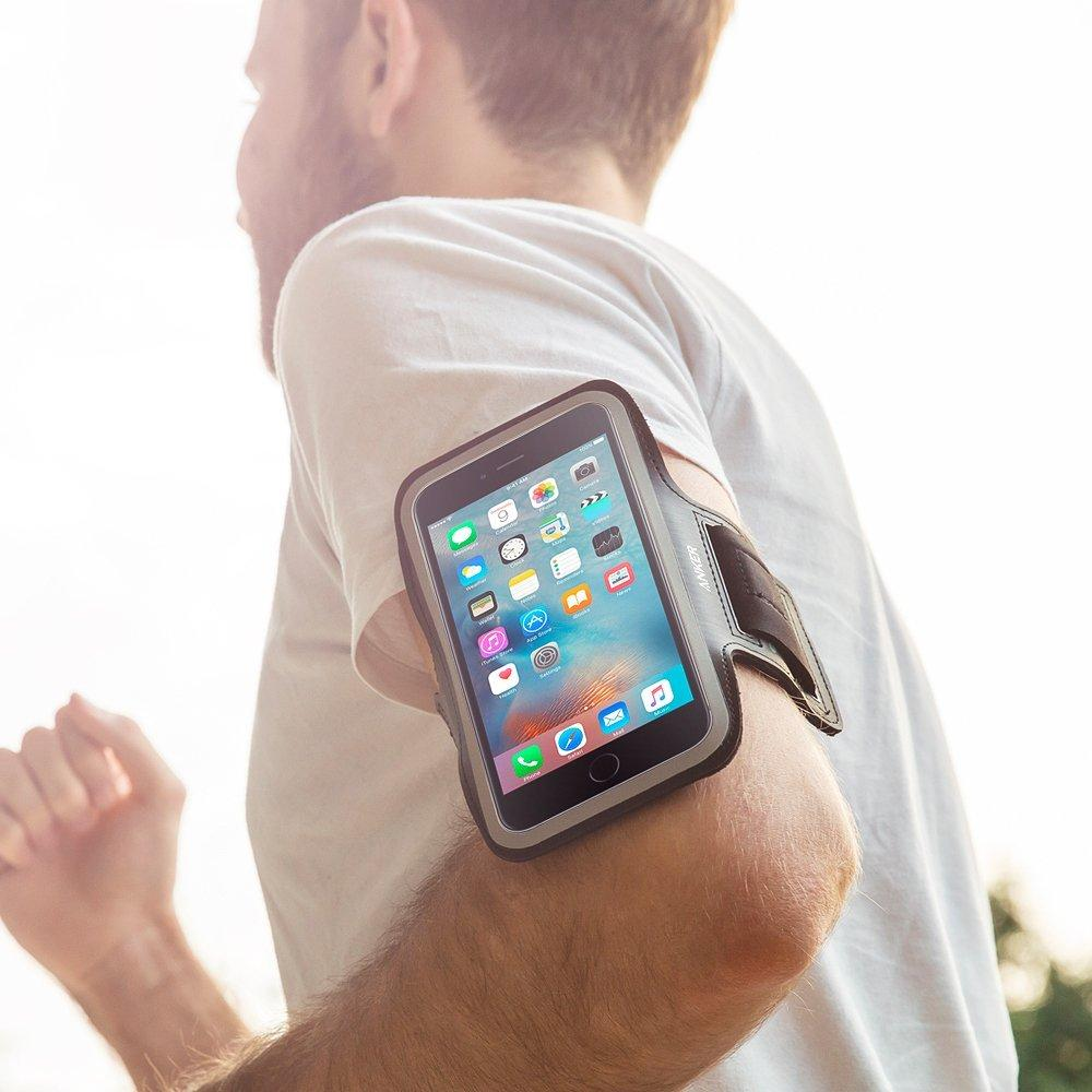 Anker Sport Armband for iPhone 6 Plus / iPhone 6s Plus with Headphone and Key Slots and 2 Extra Cuttable Velcro Strips