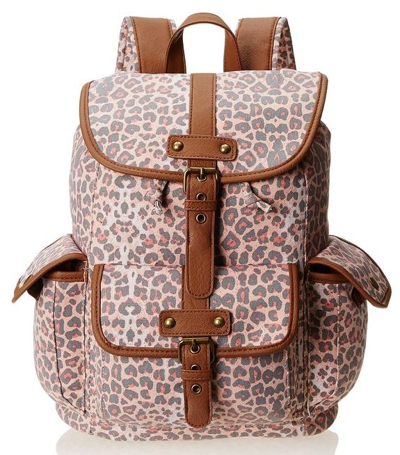 Wild Pair Printed Canvas Backpack With Faux Leather Trim @ Amazon