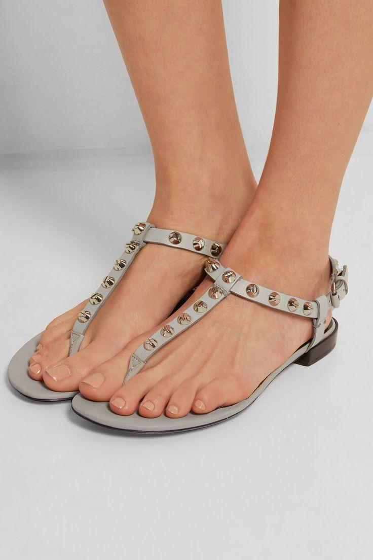 Balenciaga Leather Studded T-Strap Sandals