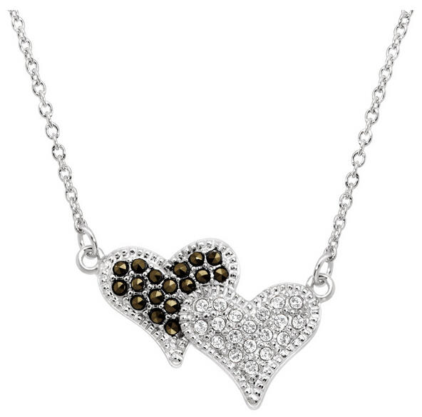 Double Heart Necklace with Swarovski Crystals