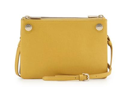 Furla  Lilli Two-Tone Mini Leather Crossbody Bag, Saffron/Taupe