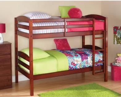$169 + Free Shipping Mainstays Twin over Twin Wood Bunk Bed