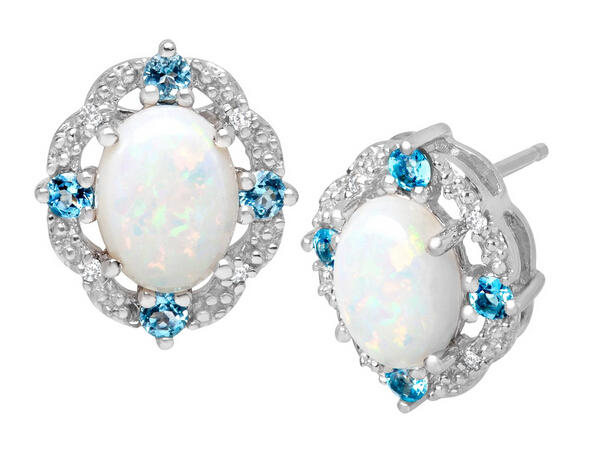 1 3/8 ct Opal & Topaz Earrings with Diamonds