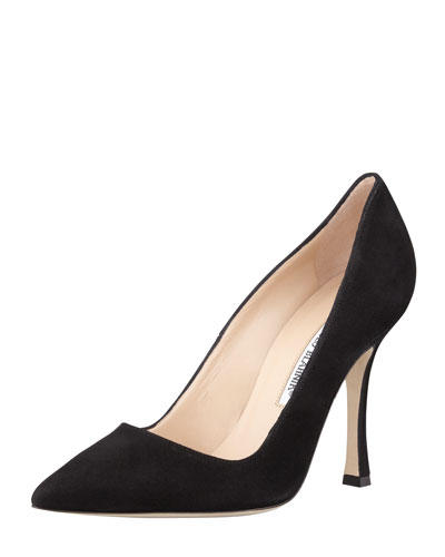 Manolo Blahnik  BB Suede Point-Toe Pump, Black