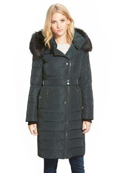 French Connection Faux Fur-Trimmed Asymmetrical Zip Coat