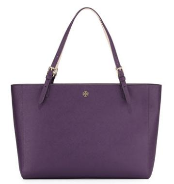 Tory Burch  York Saffiano Leather Tote Bag, Purple Iris