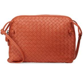 Bottega Veneta Intrecciato Small Zip Messenger Bag, Orange