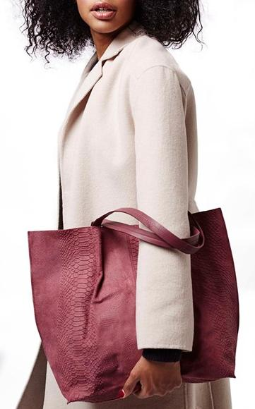 Topshop Embossed Suede Shopper Bag On Sale @