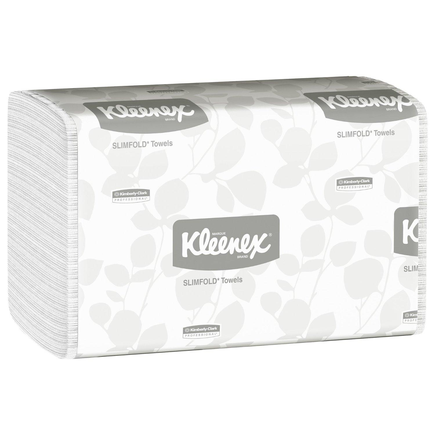 Hand Towels Kleenex Slimfold (04442) with Fast-Drying Absorbency Pockets, White, 90 Towels / Clip, 24 Packs