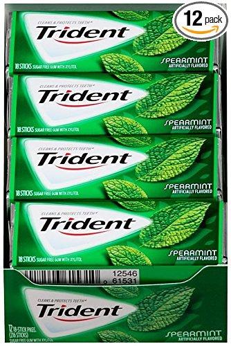 $6.40 Trident Sugar Free Gum, Spearmint,18-Count (Pack of 12)