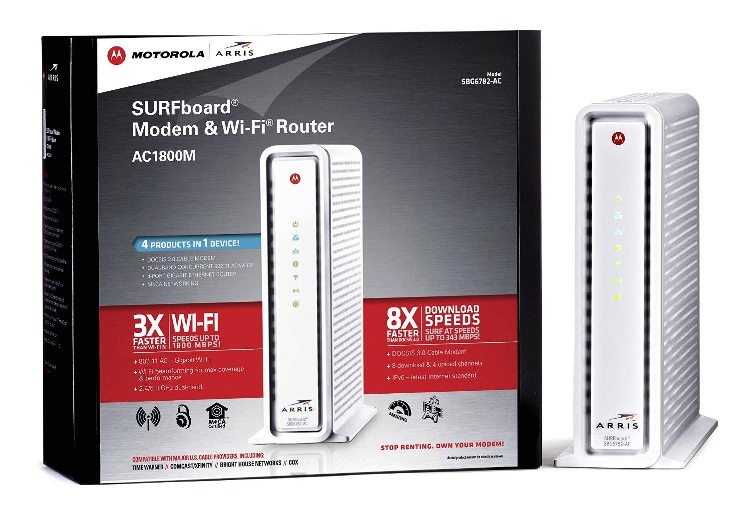 $88.04 & Free Shipping Refurbished ARRIS SURFboard SBG6782AC DOCSIS 3.0 Cable Modem/ Wi-Fi AC1750 Router