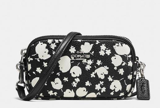 COACH Floral Printed Leather Crossbody Pouch