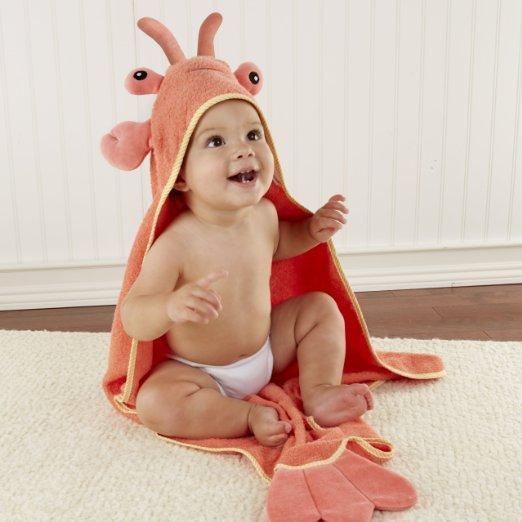 $17.13 Baby Aspen, Lobster Laughs Lobster Hooded Towel, Red, 0-9 Months