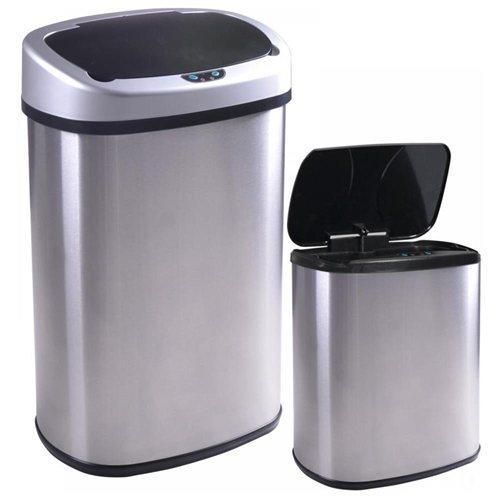 13 and 2.4 Gallon Touch-Free Sensor Automatic Stainless-Steel Trash Can