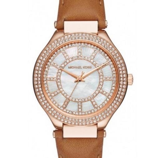 Extra $15 off MICHAEL KORS Kerry Mother of Pearl Dial Brown Leather Ladies Watch