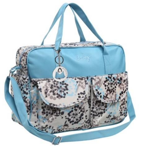 MG Collection Fashion Green Floral Top Handle Travel Baby Bag / Diaper Tote Bag w/ Changing Pad @ Amazon