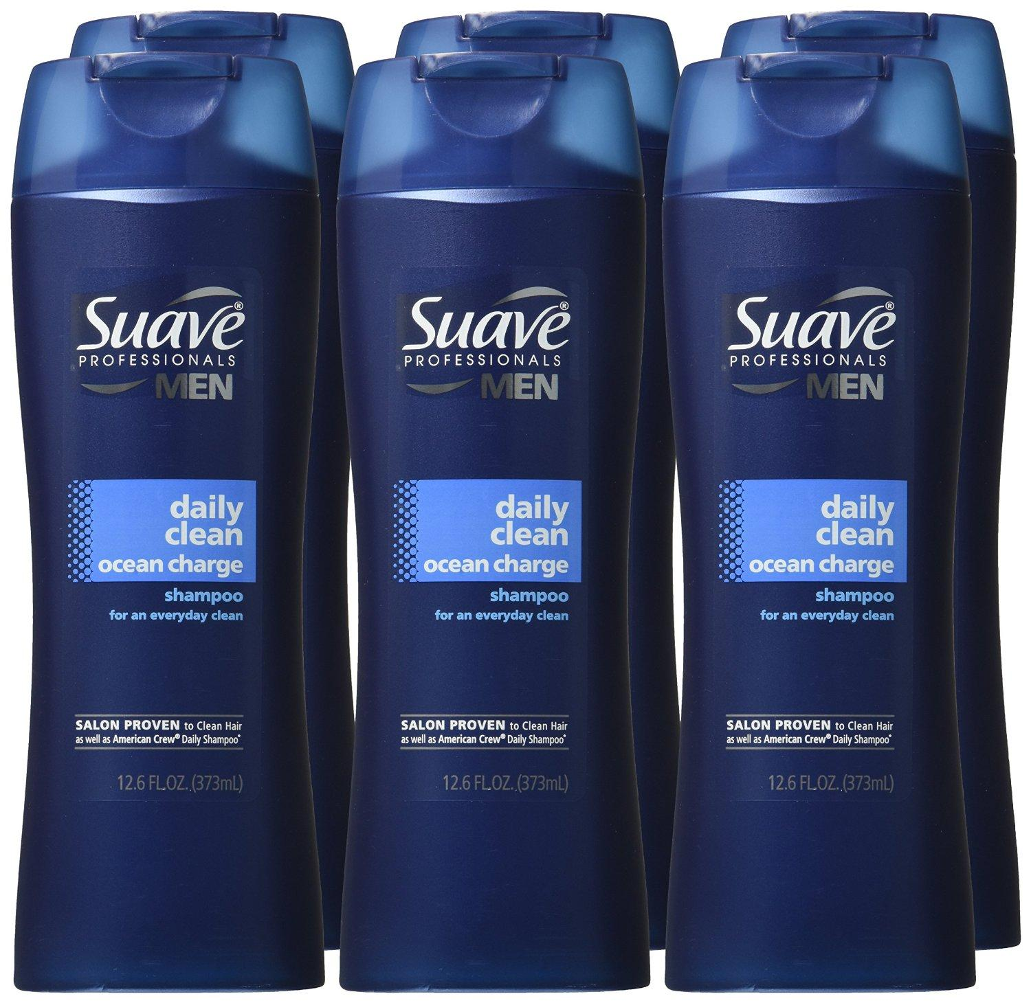 $9.03 Suave Professionals Men Shampoo, Daily Clean Ocean Charge 12.6 oz (Pack of 6)