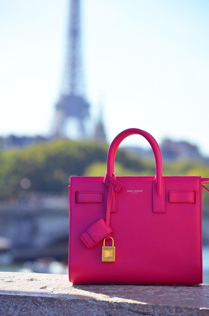 SAINT LAURENT Bright Pink Leather 'Sac De Jour' Small Convertible Tote
