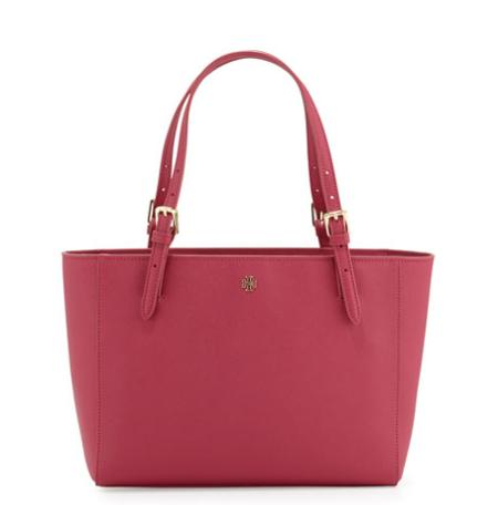 Tory Burch York Small Saffiano Buckled Tote Bag, Raspberry @ Neiman Marcus