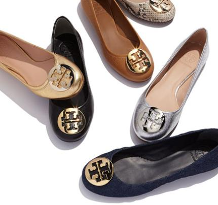 Tory Burch Reva Leather Ballerina Flat, Black @ Neiman Marcus