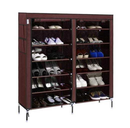 Homdox 7-Tier Shoe Rack Portable Shoe Storage Cabinet Organizer with Side Pockets