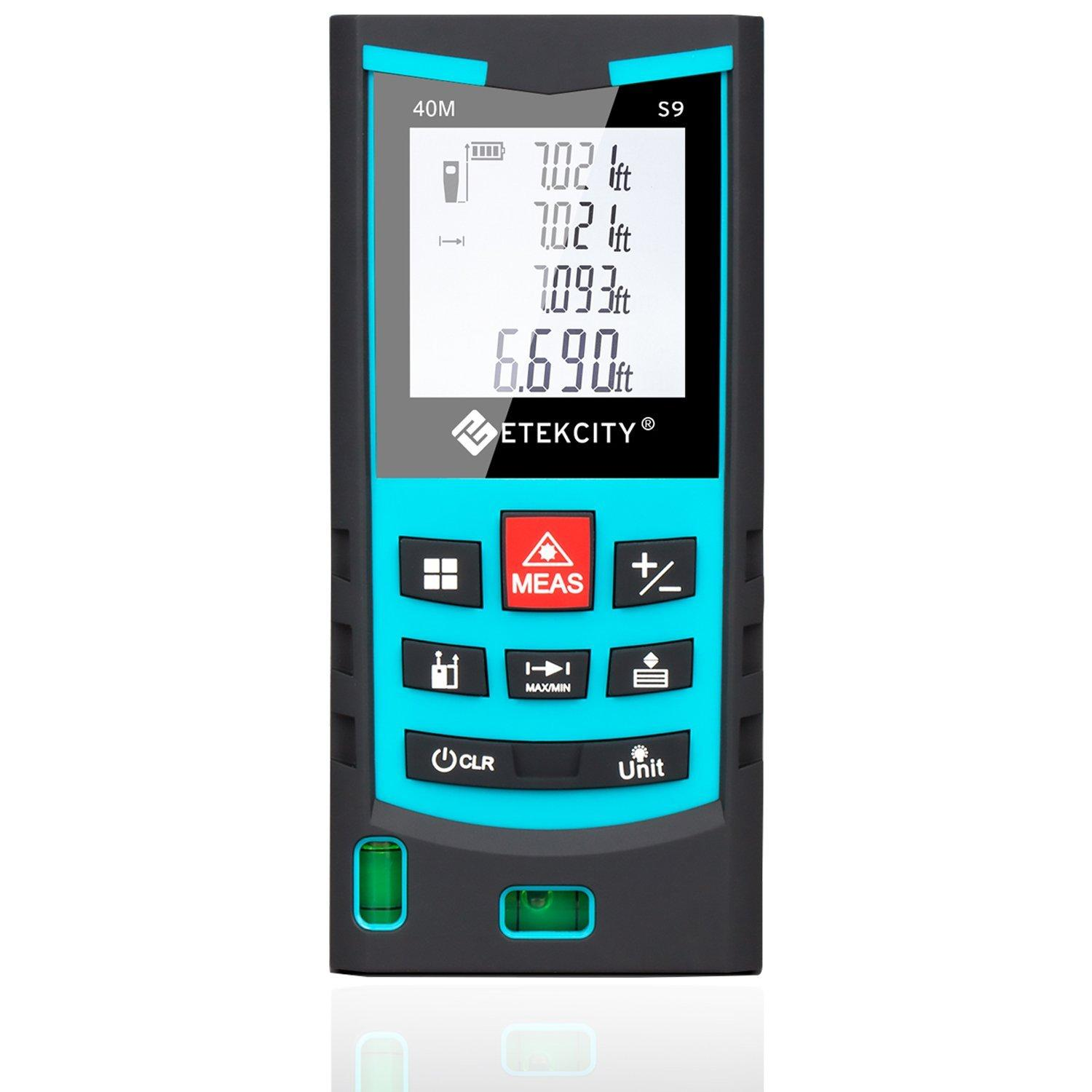 Etekcity S9 Layout-Smart Class II Laser Distance Measurer, Bubble Level, 130-Feet