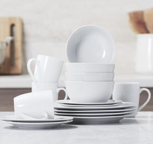 $19.99 AmazonBasics 16-Piece Dinnerware Set, Service for 4