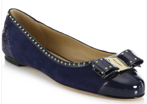 $250 Salvatore Ferragamo Varina Studded Mixed-Media Flats