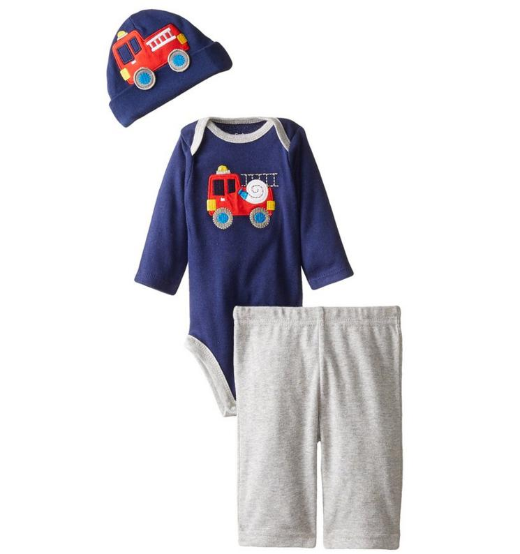 Gerber Baby-Boys Newborn Three-Piece Bodysuit, Cap, and Pant Set
