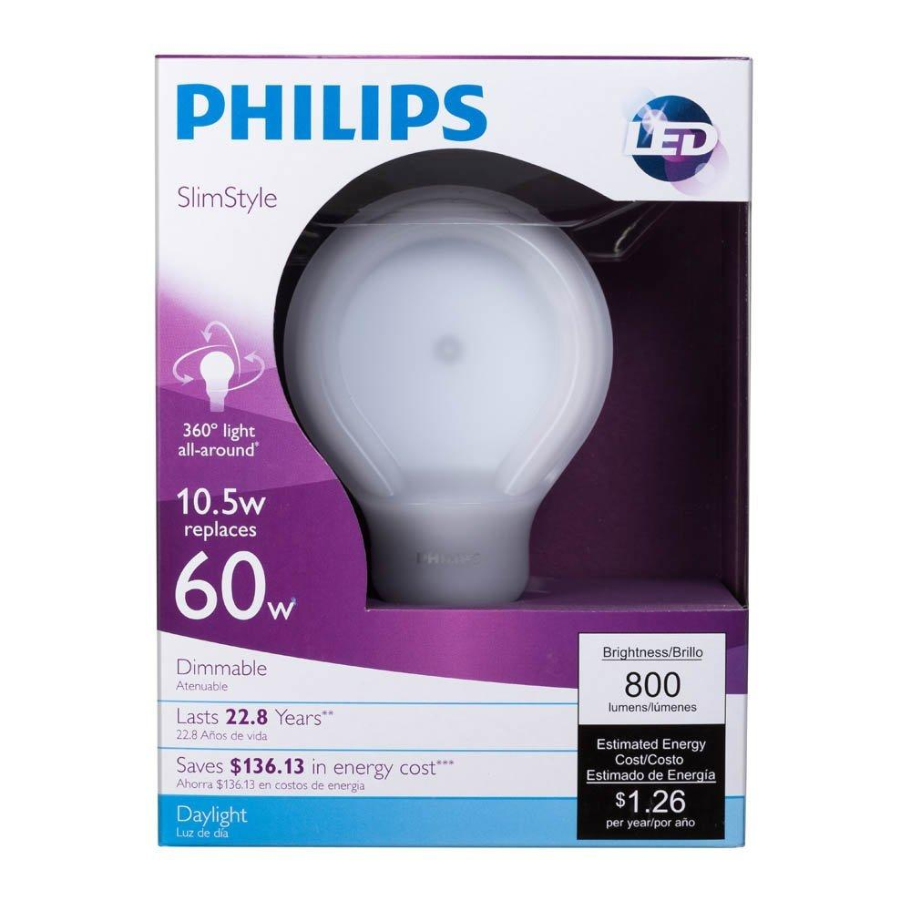 $2.97 Philips 433235 60 Watt Equivalent SlimStyle A19 LED Light Bulb Daylight, Dimmable