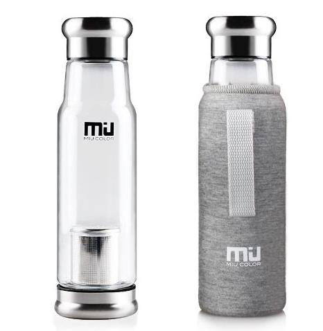 MIU COLOR® Stylish Portable Handmade Crystal Glass Water Bottle with Nylon Sleeve