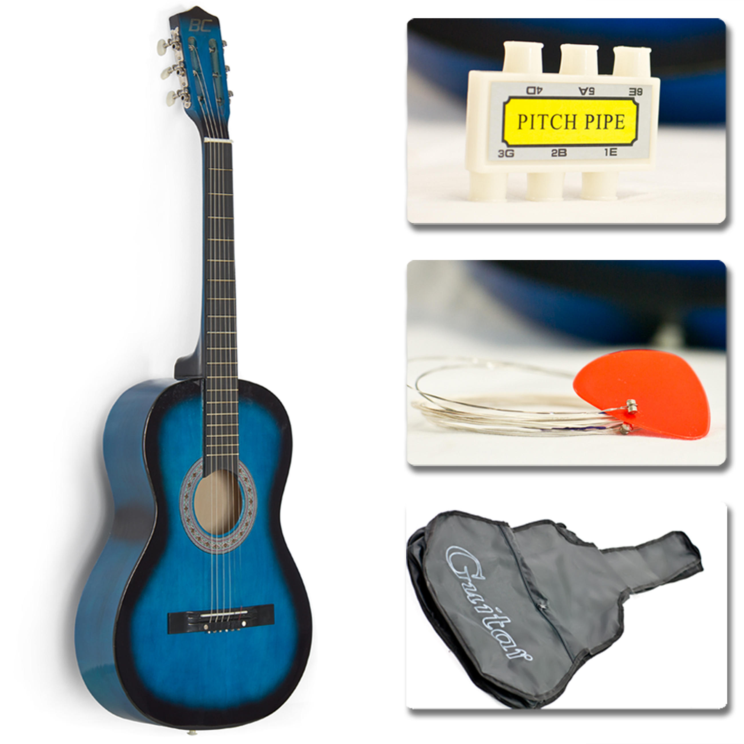 $29.95 New Beginners Acoustic Guitar With Guitar Case, Strap, Tuner and Pick