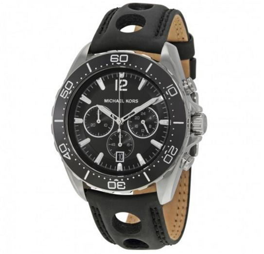 Extra $15 off MICHAEL KORS Windward Chronograph Black Dial Black Silicone Men's Watch
