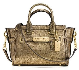 COACH Swagger 27 in Metallic Pebble Leather @ Bloomingdales