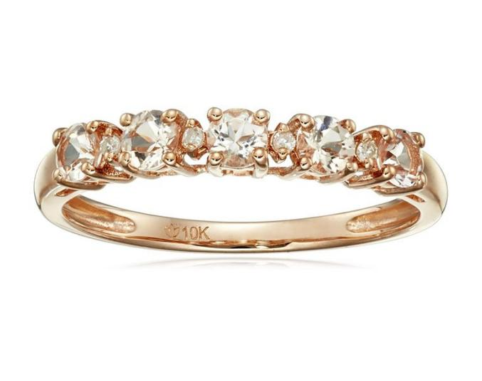 10k Rose Gold Morganite and Diamond Stackable Ring, Size 7
