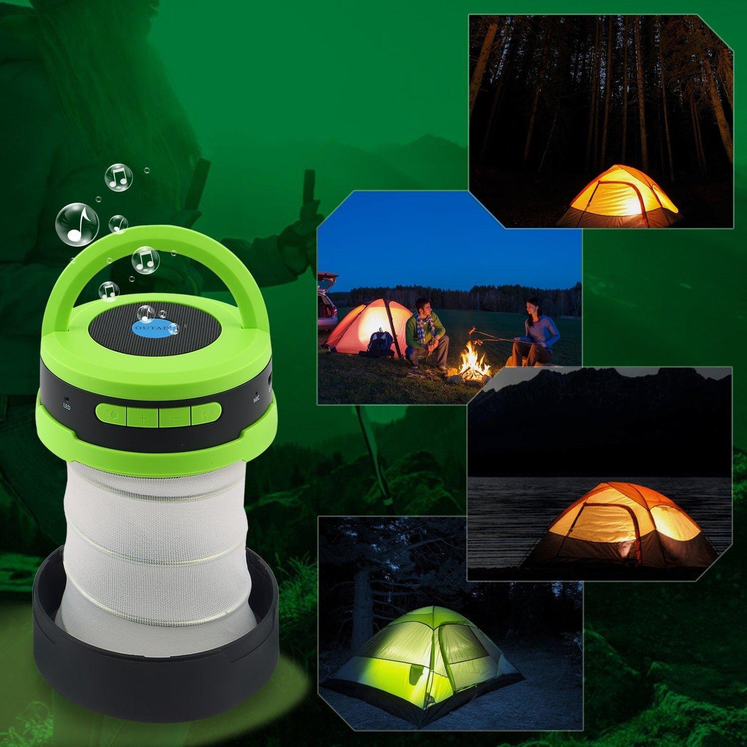 OUTAD 2 in 1 Outdoor Wireless Bluetooth Speaker and LED Lamp with Built-In Mic