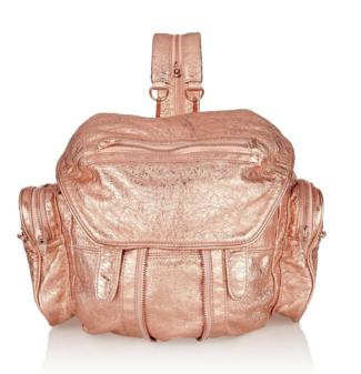 ALEXANDER WANG Marti foil-effect metallic leather backpack On Sale @ The Outnet
