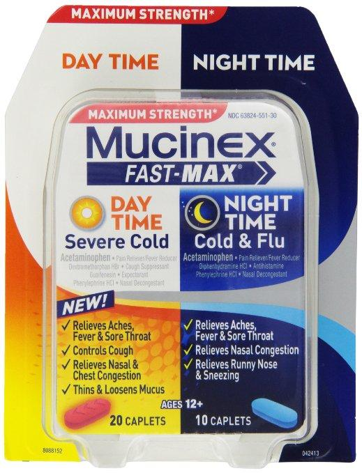 Mucinex Fast-Max Adult Day and Night Caplets, 30 Count