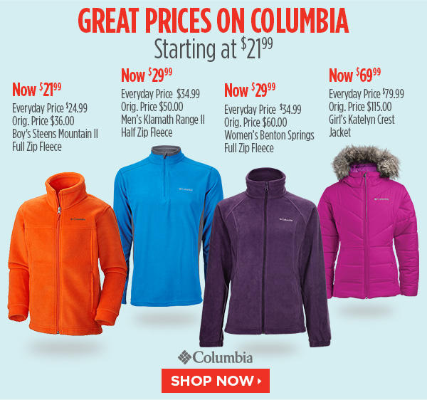 Starting at $26.24 Columbia Outerwear @ Sports Authority