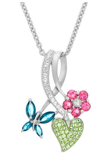 Butterfly Bouquet Pendant with Swarovski Crystals