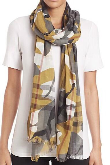 Burberry Painted Camo-Print Check Gauze Scarf @ Saks Fifth Avenue