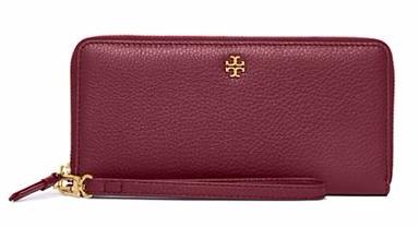Tory Burch PEBBLED ZIP PASSPORT CONTINENTAL WALLET
