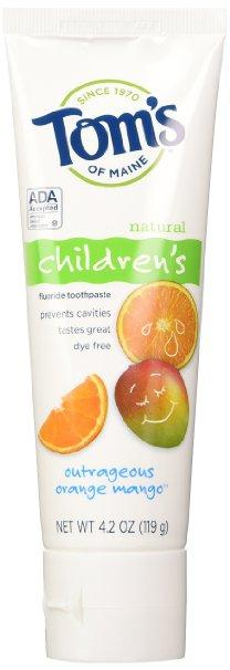 Tom's of Maine Anticavity Fluoride Children's Toothpaste, Outrageous Orange-Mango, 3 Piece(4.2oz)