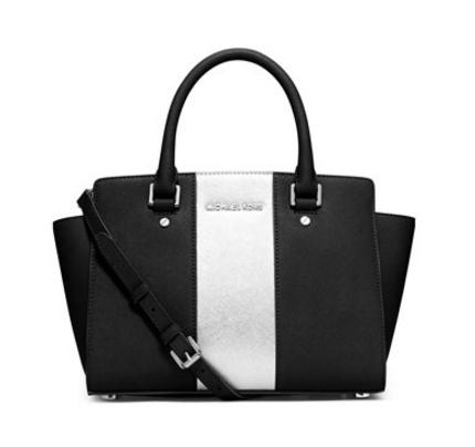 MICHAEL Michael Kors Selma Center-Stripe Satchel Bag, Black/Silver