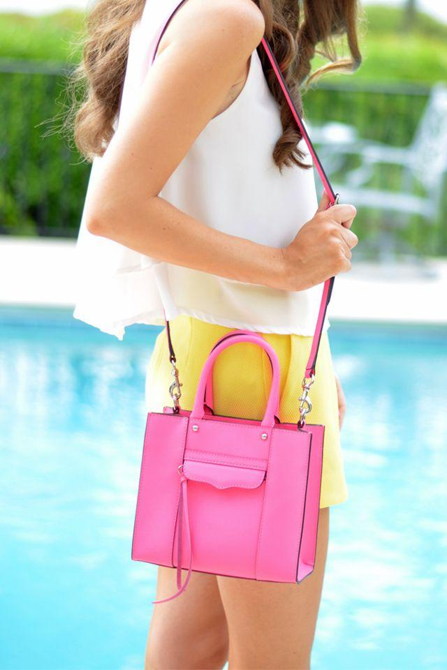 Rebecca Minkoff MAB Mini Leather Tote Bag, Fuchsia